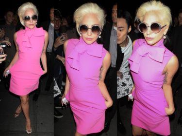 Ładna (!) Lady Gaga w różowej sukience (ZDJĘCIA)