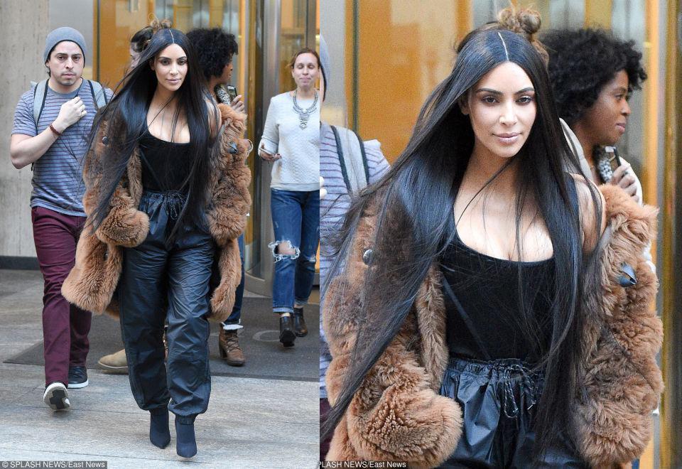 Kim Kardashian w wielkim futrze