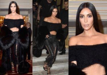 Coraz szczuplejsza Kim Kardashian w wielkim futrze na tygodniu mody w Paryżu (ZDJĘCIA)