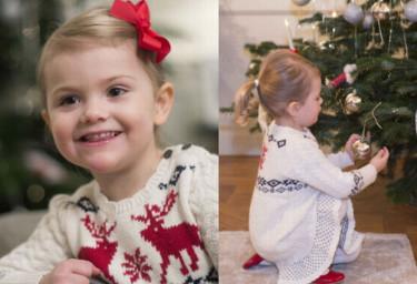 3-letnia księżniczka Estelle ze Szwecji ubiera choinkę (ZDJĘCIA)