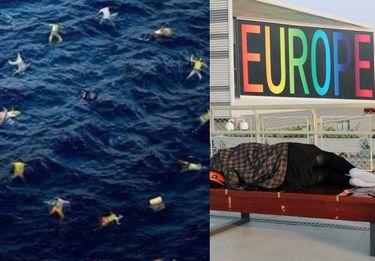 """Internauci wymieniają się """"nową flagą"""" Unii Europejskiej z ciałami uchodźców zamiast gwiazdek"""