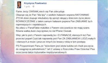 """Pawłowicz do Owsiaka: """"Popiera Pan ZABIJANIE tych najmniejszych i najsłabszych"""""""
