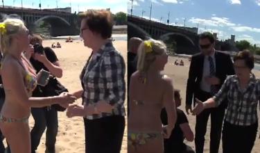 Kopacz zaczepia ludzi na plaży: