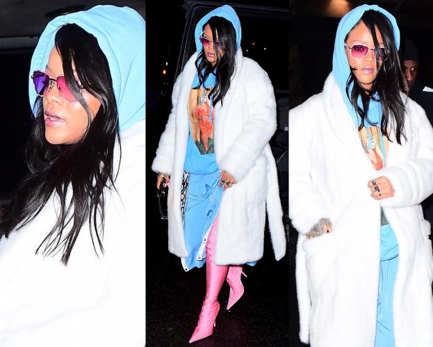 Zakapturzona Rihanna imprezuje w szlafroku