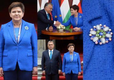 Beata Szydło z kwiatową broszką wita premiera Węgier (ZDJĘCIA)