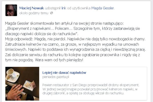 """Maciej Nowak do Gessler: """"MAGDA, NIE PIERDOL! Zatrudniacie kelnerów NA CZARNO!"""""""