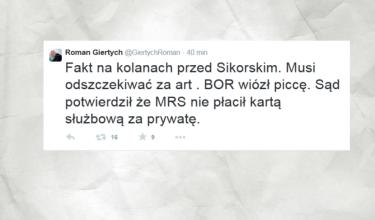 Twitterowa wpadka Romana Giertycha