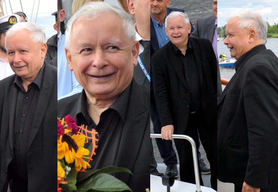Uśmiechnięty Jarosław Kaczyński podziwia flotę