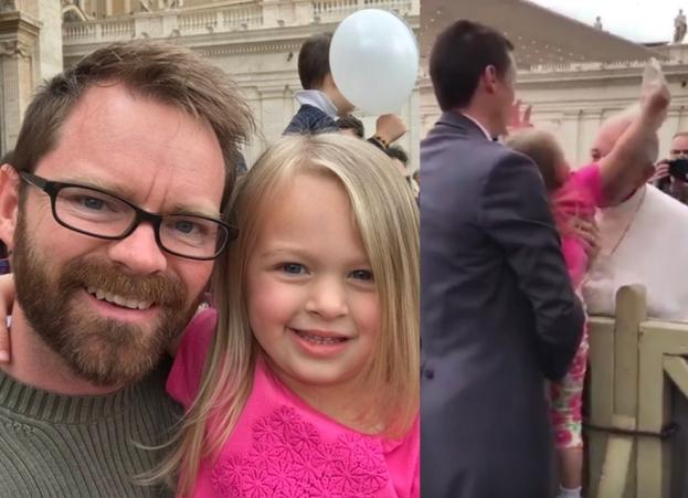 Trzyletnia dziewczynka zabrała piuskę papieżowi! (WIDEO)