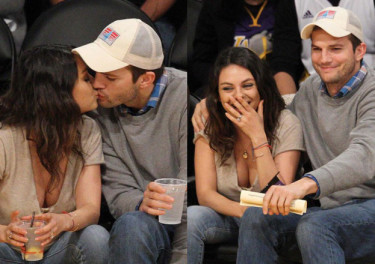 Zakochani Ashton Kutcher i Mila Kunis na meczu (ZDJĘCIA)