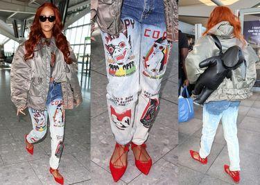 Pomalowane spodnie Rihanny... Ładne? (ZDJĘCIA)