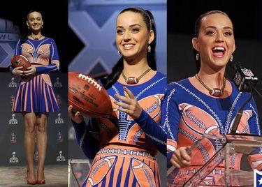 Katy Perry na konferencji przed Super Bowl (ZDJĘCIA)