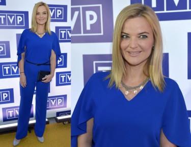 Niebieska Zamachowska na prezentacji ramówki TVP!