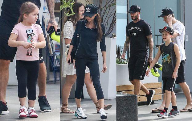 Rodzina Beckhamów w komplecie: zarośnięty David, Victoria w sportowych butach (ZDJĘCIA)