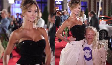 Pietrasińska pozuje z karłem na imprezie Playboya...