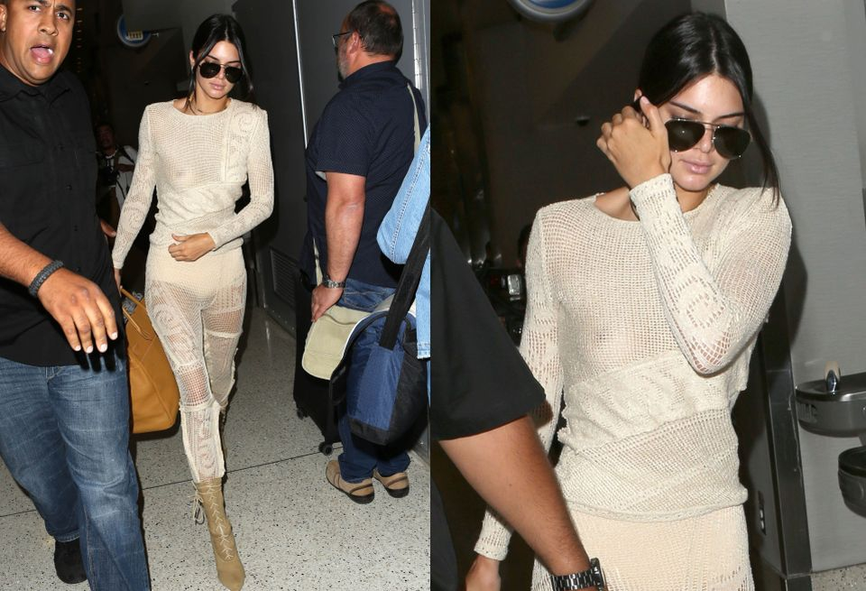 Kendall Jenner na lotnisku w Nicei