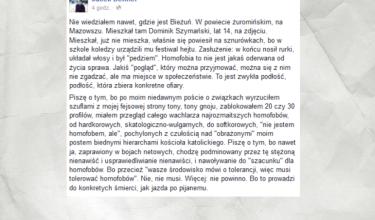 Jacek Dehnel o samobójstwie 14-letniego Dominika