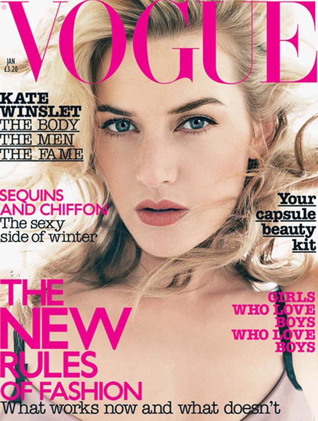 Wyretuszowana Kate Winslet na okładce