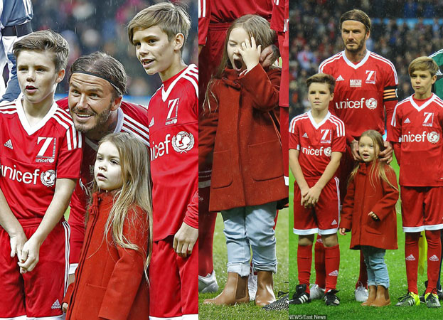David Beckham pozuje z synami i córeczką na stadionie (ZDJĘCIA)